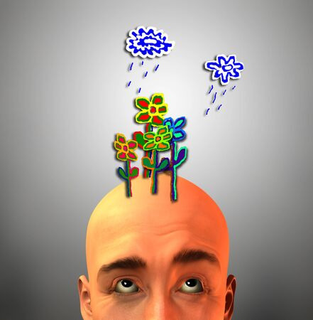 imaginative: Bald Man with Child Like Weather Overhead