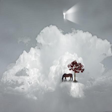 surreal landscape: keyhole emits light in dreamlike scene