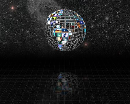 Planet earth sphere of video screens before stars Stock Photo