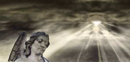 angel cemetery: Angel and dramatic Sky