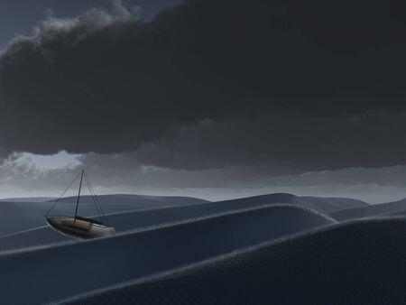 blustery: Ship at sea Stock Photo