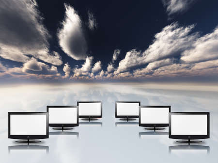 Empty flat panels in white with sky photo