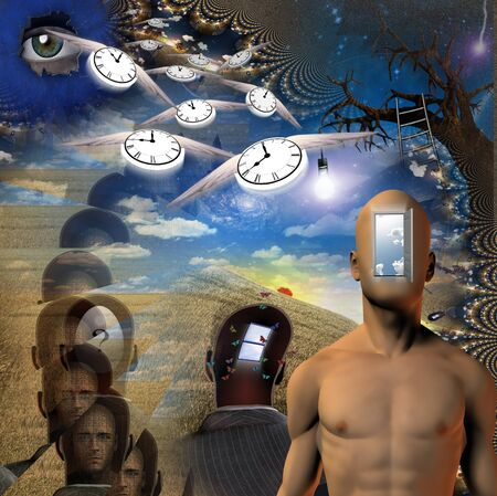 Human, time and mind elements photo