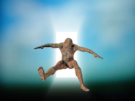 CIrcuit skinned man leaps from doorway Stock Photo