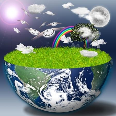Halbe Erde mit grünem Gras und Landschaft Standard-Bild - 8836816