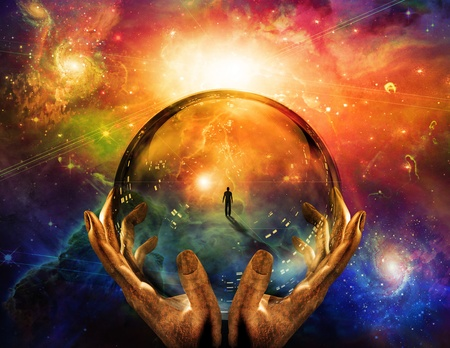 spiritual background: Hands hold glass sphere with view of man