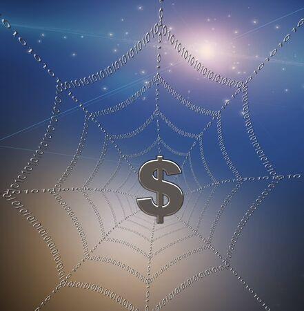 Dollar caught in binary web photo