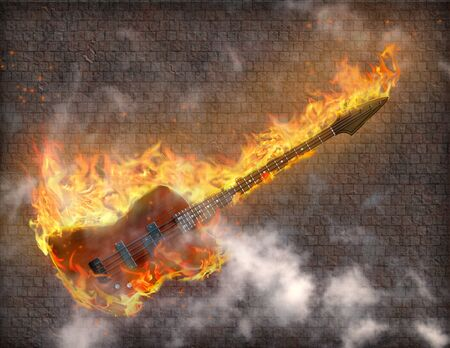 Burning Guitar with smoke against grungy stone wall Stock Photo - 8837775