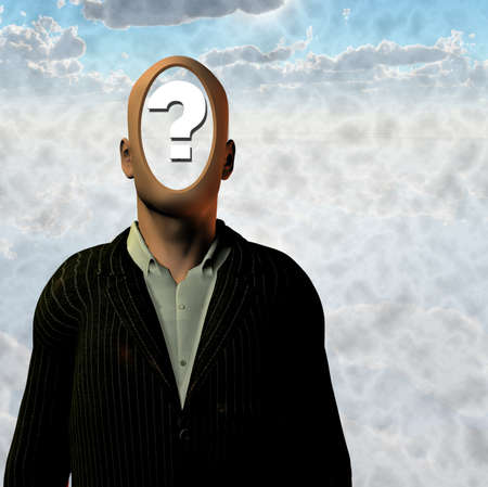 Man with question mark inside head Stock Photo - 8837731