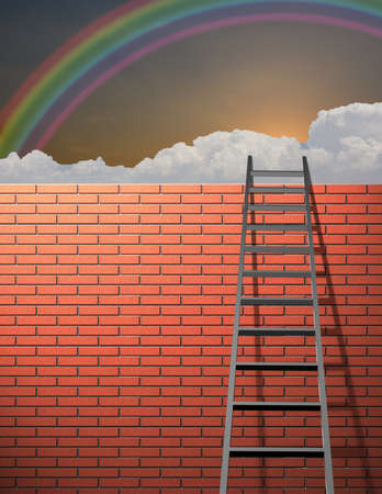 Ladder leans on wall with sky Stock Photo - 8837782