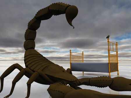 Bed with bird and scorpion