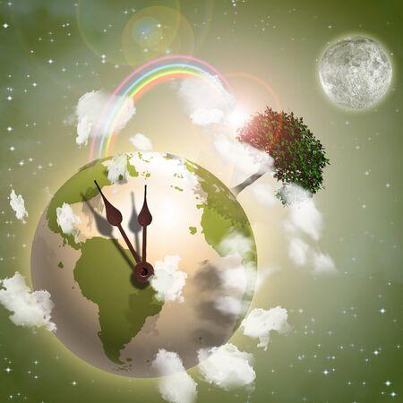 international recycle symbol: Clock Ticking Earth