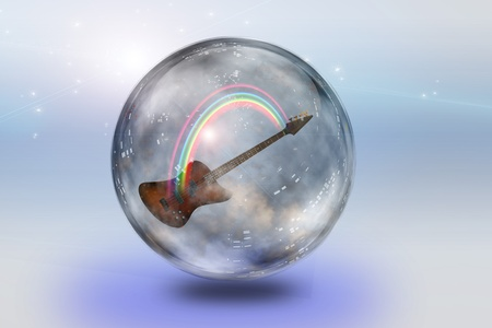 Guitar and rainbow in glass photo