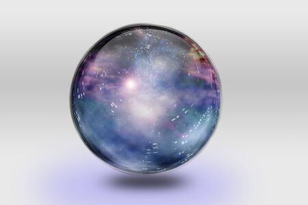Space is contained inside of glass sphere photo