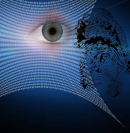 security symbol: Binary web and fingerprint with human eye
