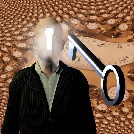 perceptie: Erg om te ontgrendelen met skeleton key Stockfoto