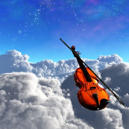 Violin Clouds Stock Photo