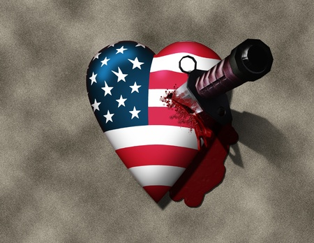 USA Heart Stabbed by Knife 版權商用圖片