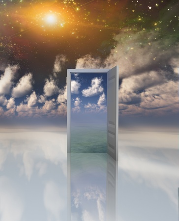 Doorway in serene space opens into other realm