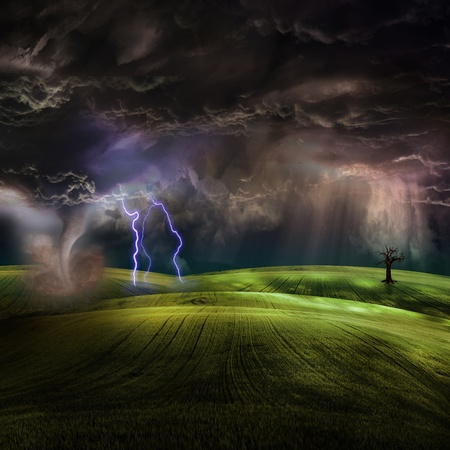 Tornado in stormy landscape Stock Photo - 9222953