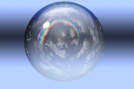 Rainbow and clouds contained inside glass bubble photo
