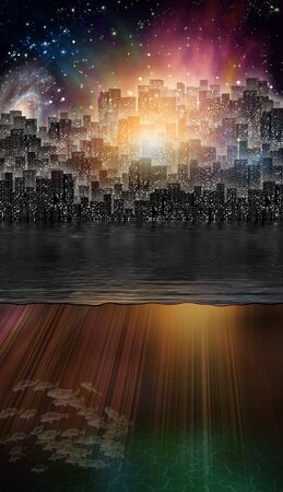 dreams of city: Fantasy City and Underwater Scene Stock Photo