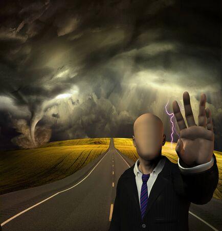 afraid man: Faceless man blocks road way