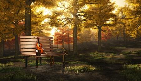 Violin in autumnal park photo