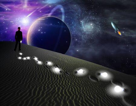 alien landscape: Uomo in largo il mondo terra cucciolate percorso con concetti
