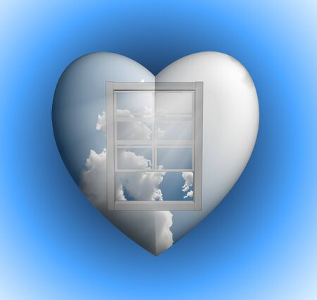 Window with sky in heart photo