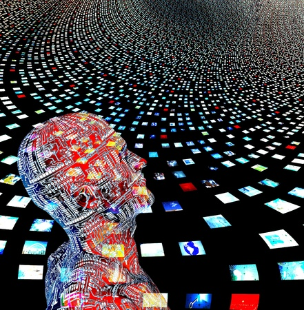 figuras humanas: Hombre y pantallas de v�deo crearon entrily de mis propias im�genes y figuras humanas fueron creadas por m� con el software y no necesita modelo versi�n Foto de archivo