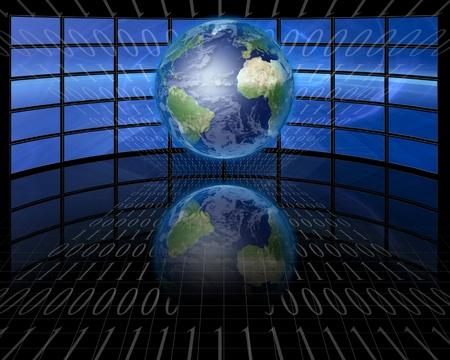 Schermen en binair met de aarde
