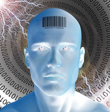 Barcode on mans forehead Stock Photo - 9512532
