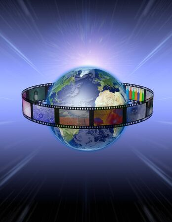 Film Encircled Earth Stock Photo