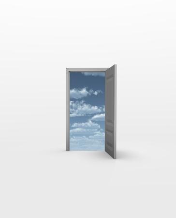 Door opens to Sky in white Stock Photo - 9582639