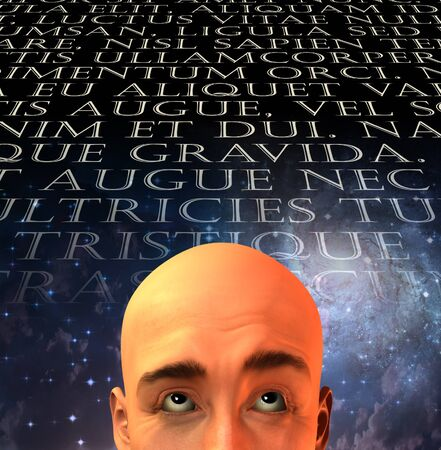 Mans head with text in old latin Stock Photo - 9582664