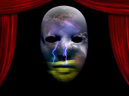theatre masks: Storm Drama Dream Scene Stock Photo