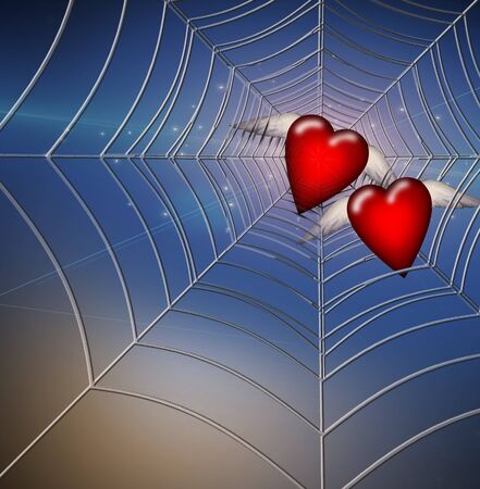 Hearts Caught in Web Stock Photo - 9582753