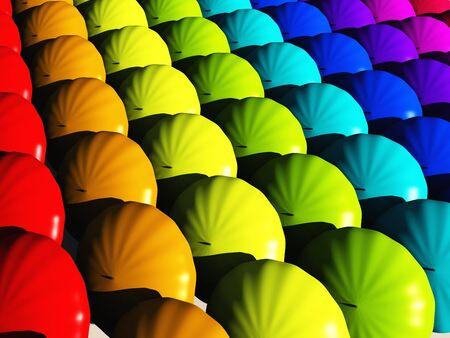 hues: Umbrellas in rainbow hues