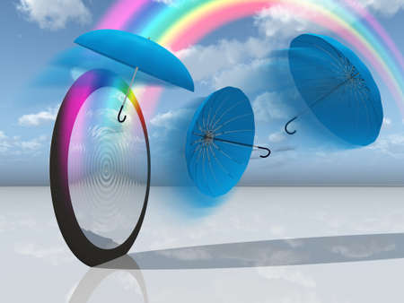reflection of life: dream scene with blue umbrellas and rainbow