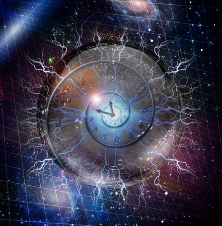 time line: Spiral of time enclosed in crystal sphere