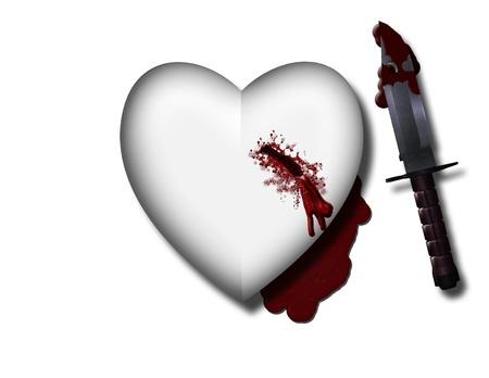 bleeding: bleeding heart with bloody knife Stock Photo
