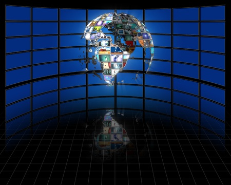 lcd tv: Planet earth sphere of video screens Stock Photo