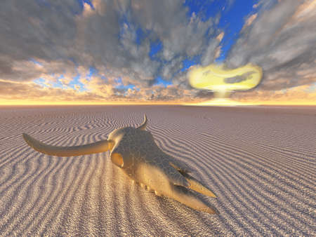 cow skull and nuclear explosion in desert Stock Photo - 9772249