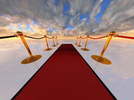 alfombra roja en el espacio abierto