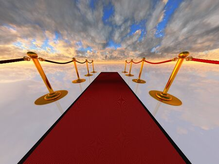 theatrical performance: red carpet in open-space
