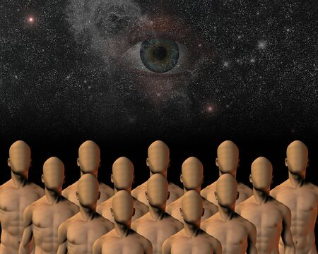 end times: unknowns under watchful eye Stock Photo