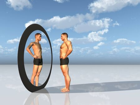 muscular build: Man sees other self in  mirror