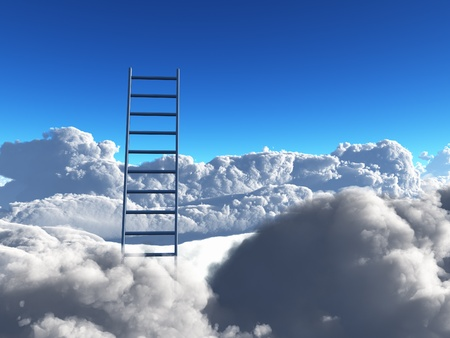 ladder reaches out of clouds photo