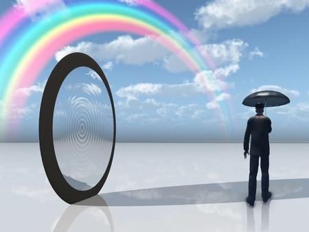 Mann mit Schirm und Spiegel Eröffnung Standard-Bild